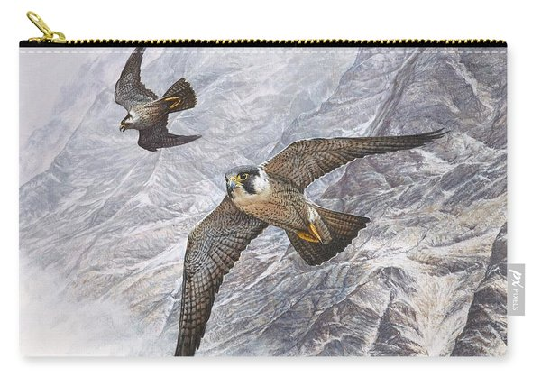 Carry-all Pouch featuring the painting Pair Of Peregrine Falcons In Flight by Alan M Hunt