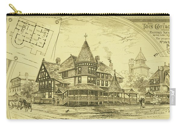 Pair Of Twin Cottages, Hastings Square, Spring Lake, Nj Carry-all Pouch