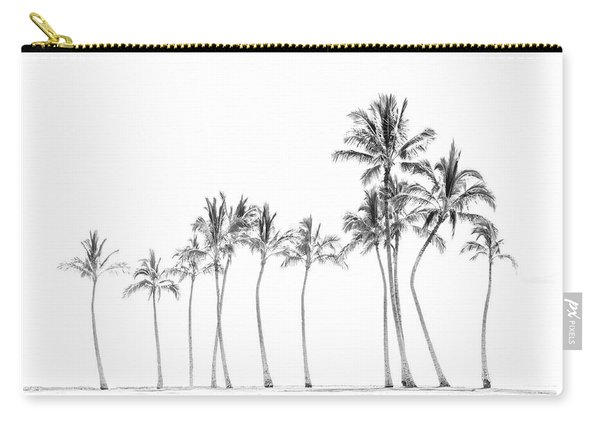 Palm Tree Horizon In Black And White Carry-all Pouch
