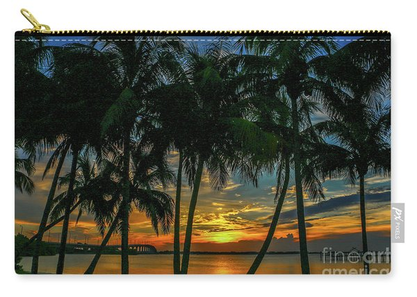 Carry-all Pouch featuring the photograph Palm Tree Lagoon Sunrise by Tom Claud