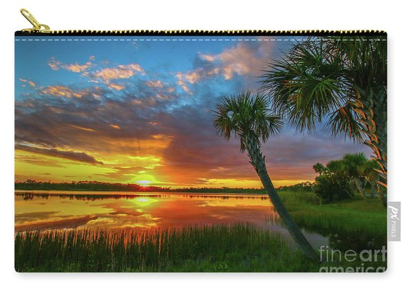 Carry-all Pouch featuring the photograph Palm Tree Sunset by Tom Claud