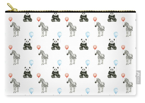 Panda And Zebra With Balloons Pattern Carry-all Pouch