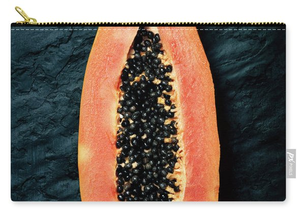 Papaya Cross-section On Dark Slate Carry-all Pouch