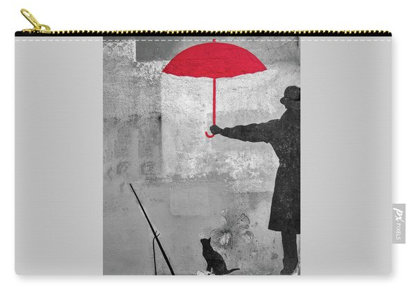 Paris Graffiti Man With Red Umbrella Carry-all Pouch