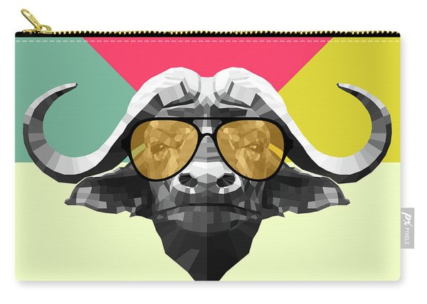 Party Buffalo In Glasses Carry-all Pouch