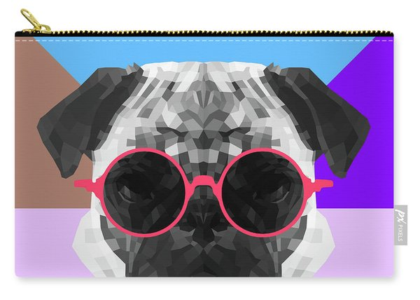 Party Pug In Pink Glasses Carry-all Pouch