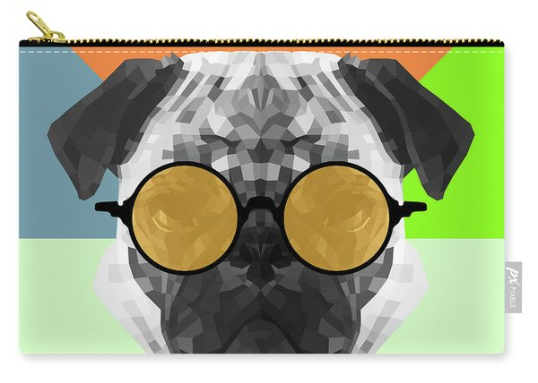 Party Pug In Yellow Glasses Carry-all Pouch