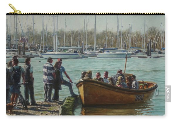 Carry-all Pouch featuring the painting Passengers Boarding The Hamble Water Taxi In Hampshire by Martin Davey