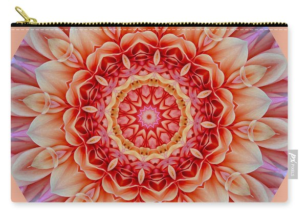 Peach Floral Mandala Carry-all Pouch