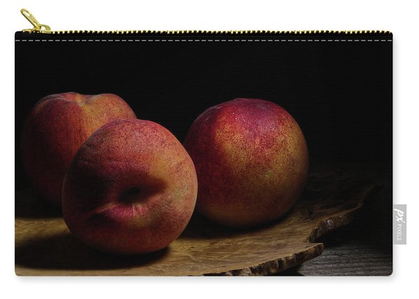 Peaches On Wood Plate Carry-all Pouch