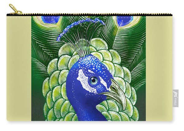 Carry-all Pouch featuring the drawing Peacock by Clint Hansen