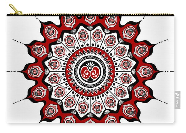 Peacock Feathers Mandala In Black And Red Carry-all Pouch
