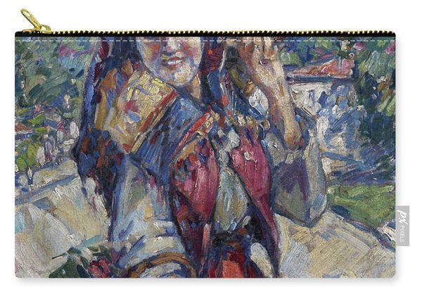 Peasant Girl With Fruit And Flowers Carry-all Pouch