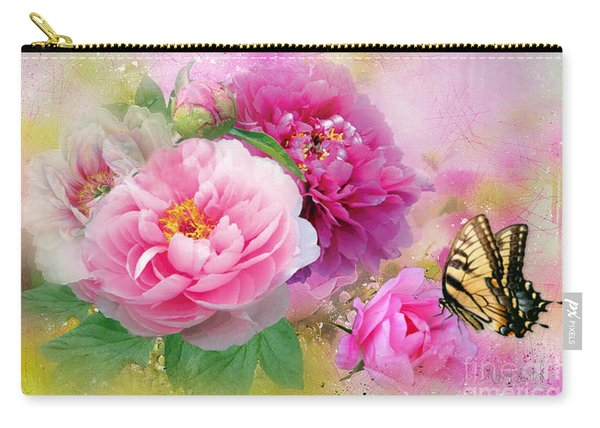 Peonies And Butterfly Carry-all Pouch