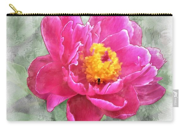 Peony And Bee Carry-all Pouch