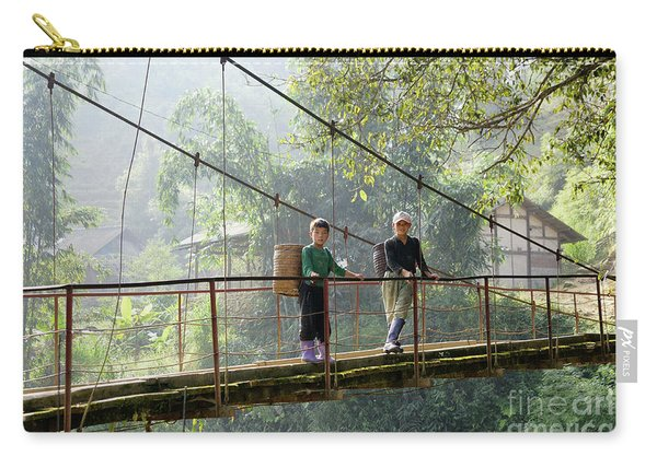 People And Children From Sapa, Mountainous Area Of Northern Vietnam In Their Daily Life. Carry-all Pouch