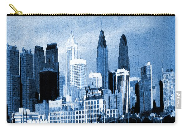 Philadelphia Blue - Watercolor Painting Carry-all Pouch