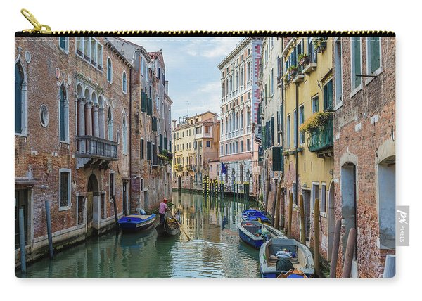 Gondolier On Canal Venice Italy Carry-all Pouch