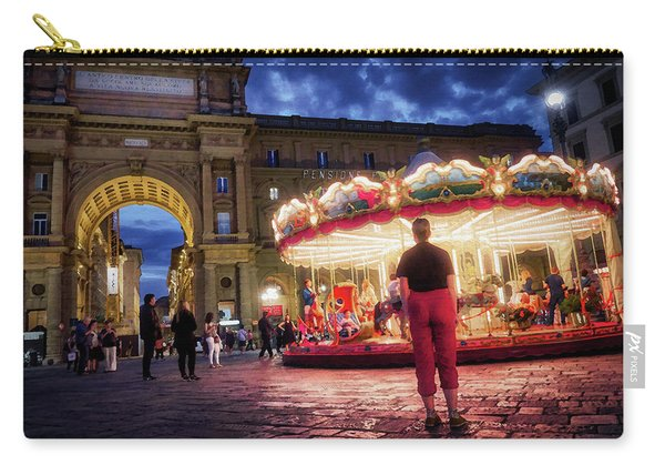 People At Piazza Della Reppublica At Night In Florence, Italy - Painterly Effect Carry-all Pouch