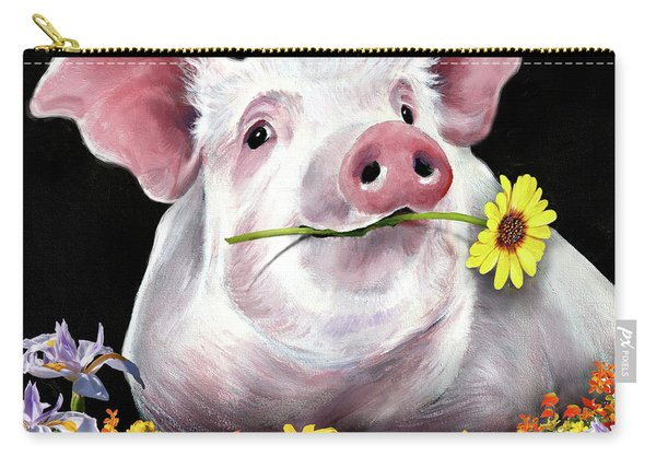Pig With Flowers Carry-all Pouch