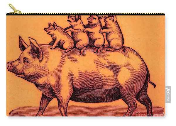 Pig With Her Piglets Carry-all Pouch