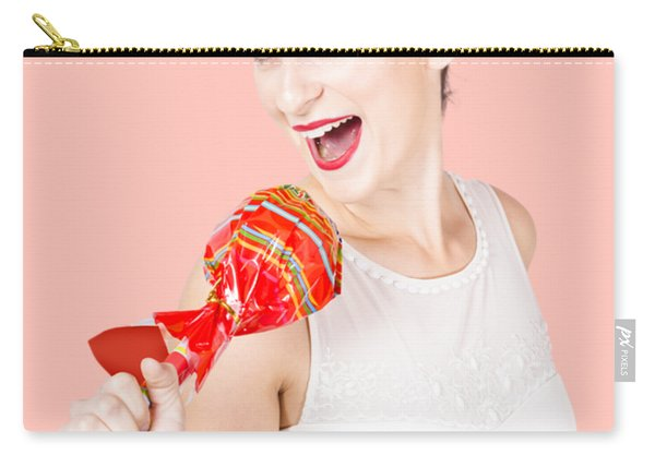 Pin-up Girl Singing Into Large Lollypop Microphone Carry-all Pouch