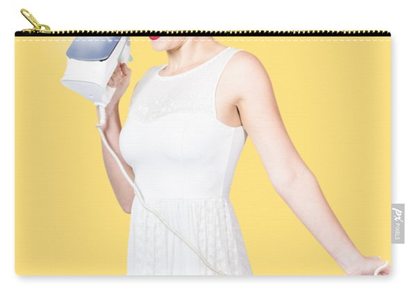 Pin Up Woman Providing Steam Clean Ironing Service Carry-all Pouch