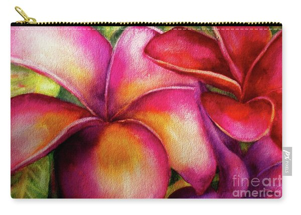 Pink And Red Plumerias Carry-all Pouch