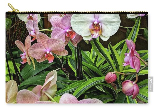 Pink And  White Orchids Carry-all Pouch
