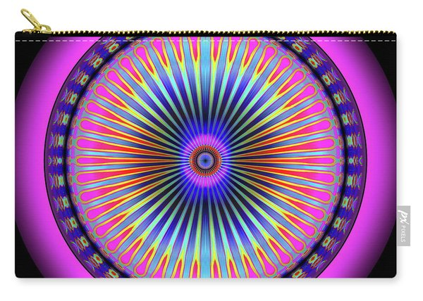 Carry-all Pouch featuring the digital art Pink Circus Sun  by Visual Artist Frank Bonilla