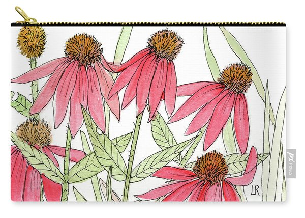 Pink Coneflowers Gather Watercolor Carry-all Pouch