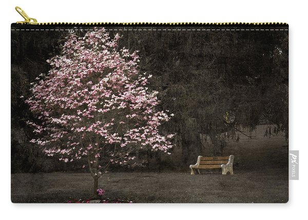 Pink Dogwood Tree And A Bench Carry-all Pouch