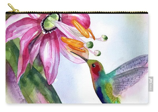 Pink Flower For Hummingbird Carry-all Pouch