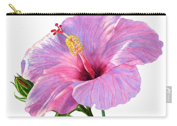 Pink Hibiscus Blossom With Blue Shadows Carry-all Pouch
