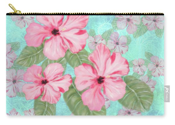Pink Hibiscus Print On Aqua Carry-all Pouch