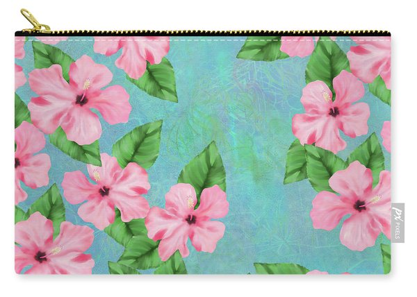 Pink Hibiscus Tropical Floral Print Carry-all Pouch