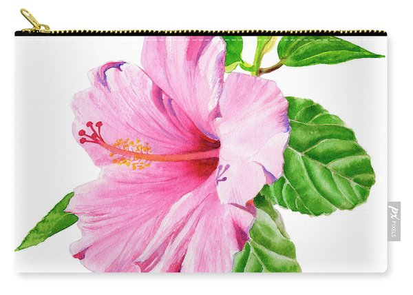 Pink Hibiscus With White Background Carry-all Pouch