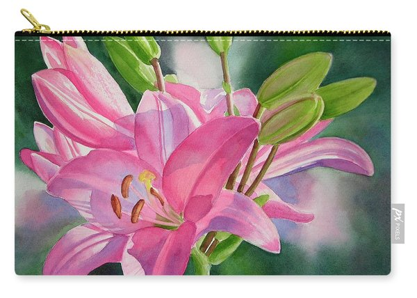 Pink Lily With Buds Carry-all Pouch