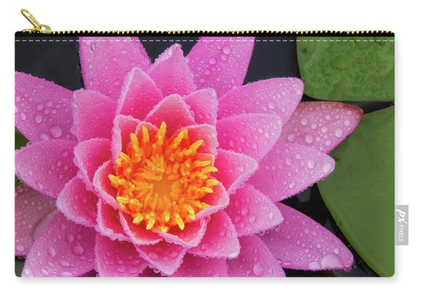Carry-all Pouch featuring the photograph Pink Petals In The Rain  by Jeff Sinon
