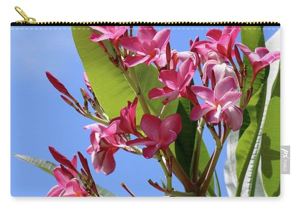 Pink Plumeria With Blue Sky Carry-all Pouch