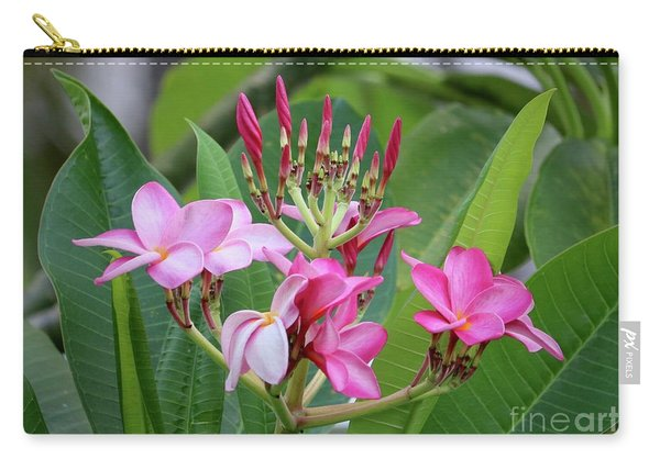 Pink Plumeria With Leaves Carry-all Pouch
