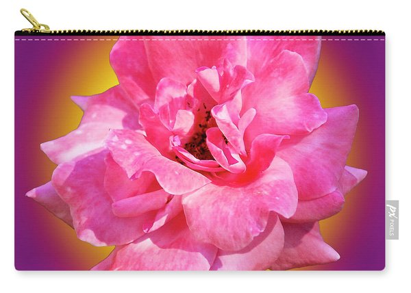 Pink Rose With Background Carry-all Pouch