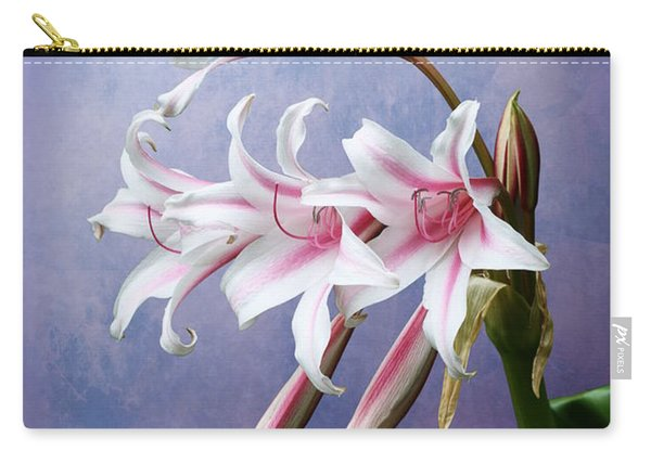 Pink Striped White Lily Flowers Carry-all Pouch