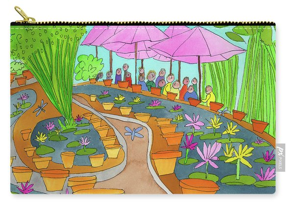 Carry-all Pouch featuring the painting Pink Umbrella And Lilies by Suzy Mandel-Canter
