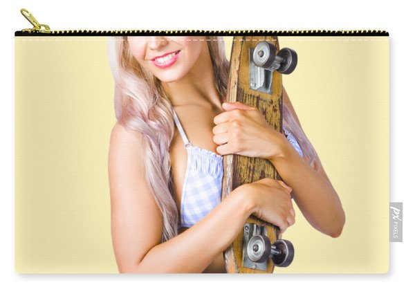 Pinup Woman In Bikini Holding Skateboard Carry-all Pouch