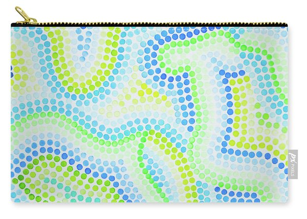 Pointillism - Blue And Green Curves Carry-all Pouch