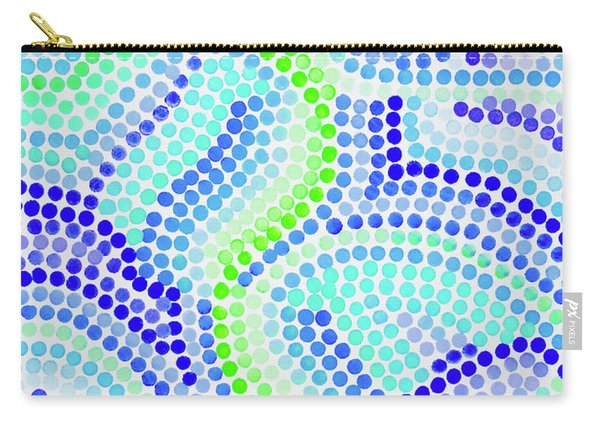 Pointillism On Half A Steroid - Blue And Green Carry-all Pouch