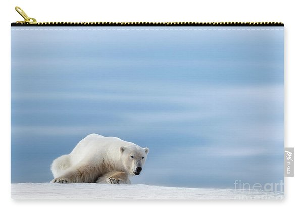 Polar Bear Crouching On The Frozen Snow Of Svalbard Carry-all Pouch