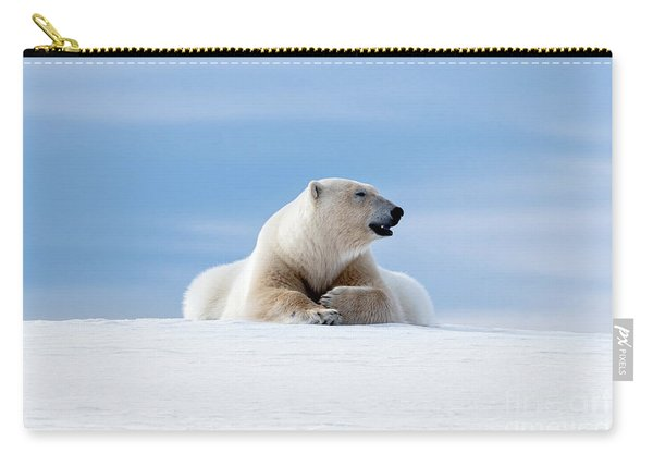 Polar Bear Laying On The Frozon Snow Of Svalbard Carry-all Pouch