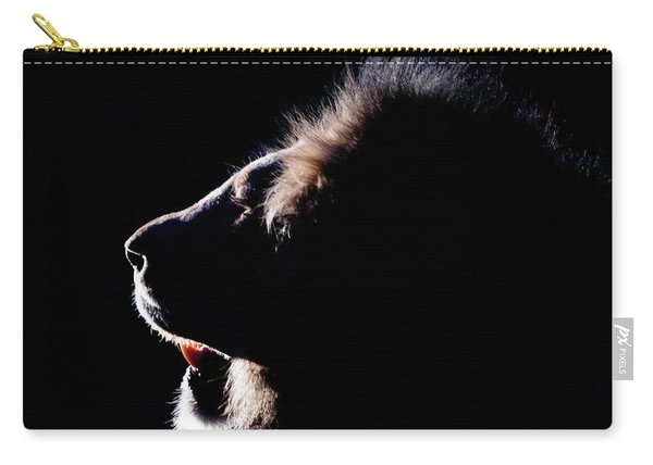 Portrait Of A Backlit Male African Lion Carry-all Pouch